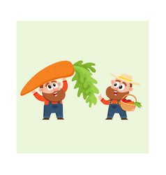 Funny farmer characters harvesting vegetables vector