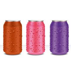Color aluminum cans with fresh water drops vector
