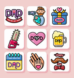 Fathers day icons 1 vector