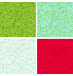 Merry christmas seamless patterns vector