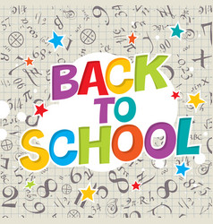 Back to school colorful poster with cell paper vector