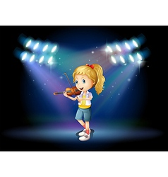 A young girl playing with her violin at the stage vector