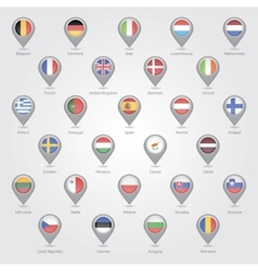 Map markers depicting the eu vector