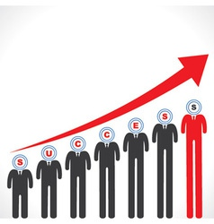 Success graph with businessmans face vector