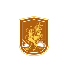 Chicken rooster house sunburst shield retro vector