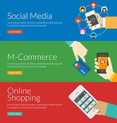 Flat design concept for social media m-commerce vector