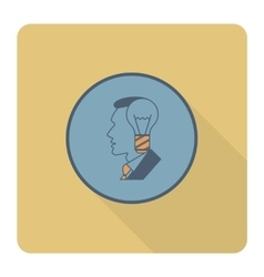Silhouette of man with light bulb idea concept vector