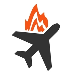 Airplane fire icon vector