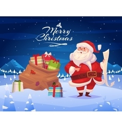 Funny santa christmas greeting card background vector