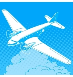 Airplane in the clouds vintage retro travel vector