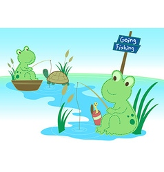 Two frogs fishing in a pond vector