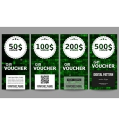 Set of modern gift voucher templates virtual vector