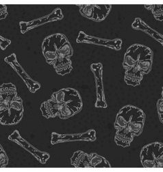 Abstract seamless background pattern with skull vector image vector image