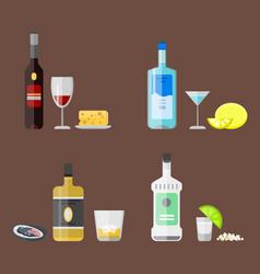 Alcohol drinks beverages cocktail appetizer bottle vector