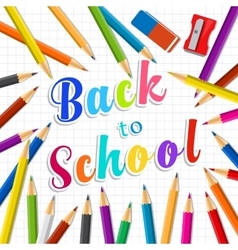 Back to school Rainbow pencils and eraser vector image