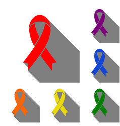 Black awareness ribbon sign set of red orange vector