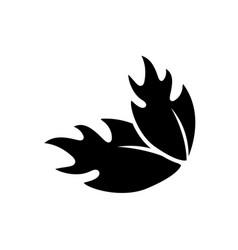 Black contour leaf of grape fruit vector