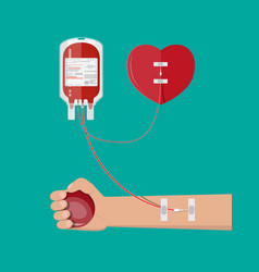 Blood bag heart and hand of donor vector