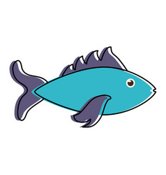 blue fish sideview icon image vector image