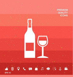 Bottle of wine and wineglass icon vector