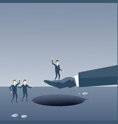Business hand hold businessman over hole partner vector