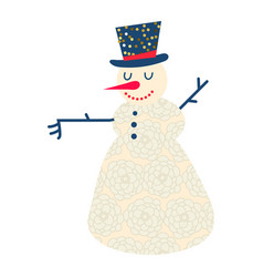 cute and funny cartoon snowman vector image vector image