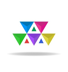 Design logo of the colorful faceted triangles vector image vector image