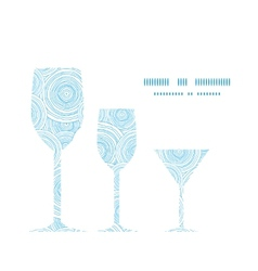 Doodle circle water texture three wine glasses vector