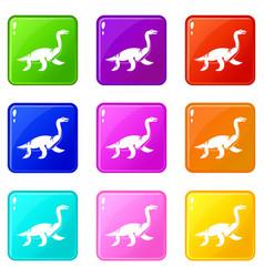 elasmosaurine dinosaur icons 9 set vector image