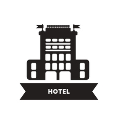 Flat icon in black and white style building hotel vector