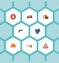 flat icons hardhat caution stop sign and other vector image vector image