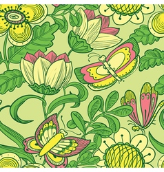 Floral seamless pattern with butterfly and dragonf vector