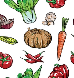 Hand drawn collection of organic vegetables vector image vector image