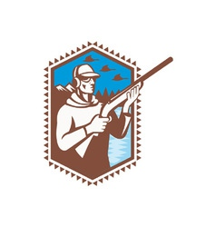 Hunter With Shotgun Rifle vector image vector image