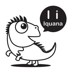 I Iguana cartoon and alphabet for children to vector image vector image