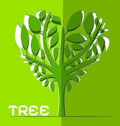 Paper cut tree on green background vector