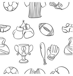 Pattern sport equipment hand draw vector