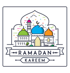 Ramadan kareem with simple modern mosque vector