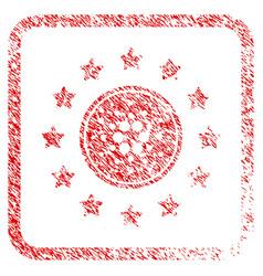 Shine cardano coin framed stamp vector