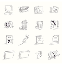 Sketch style desktop icons set vector image