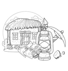 thatched hut goldfield pick and oil lamp design vector image