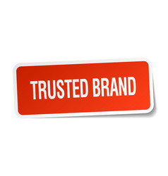 Trusted brand red square sticker isolated on white vector
