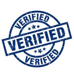 Verified blue round grunge stamp vector