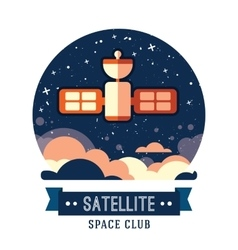 Vintage space and astronaut badge or label vector