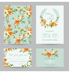 Wedding invitation set - autumn lily floral theme vector