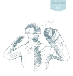 Man wearing virtual reality goggles drawn vector