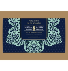 Wedding navy blue vintage floral card vector image