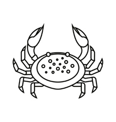 Flat thin line crab isolated on white background - vector image