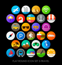 Flat round icon set 3-travel vector