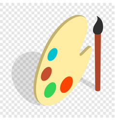 art palette with paints and brush isometric icon vector image